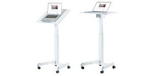 Skrivbord vit, litet höj- och sänkbart, gasfjäder, Sitt&Stå, Offix