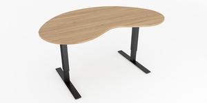 Skrivbord, höj- och sänkbart, njurformad, Sitt&Stå, Offix